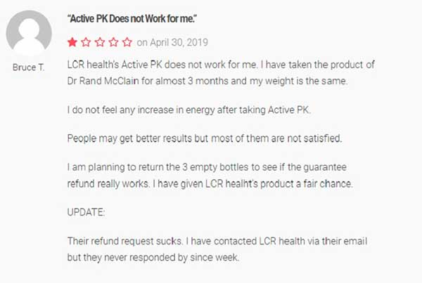 Negative customer reviews on Active-PK saying it didn't work
