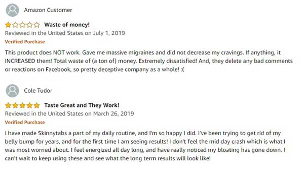 some Skinnytabs customer reviews who say it didn't work
