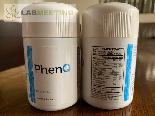 PhenQ capsules, 60 tablets. Supplement facts detailing serving size and dosage.