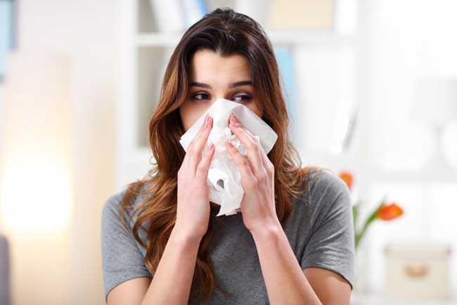woman with a common cold