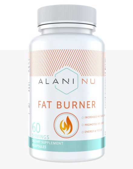 Bottle of Alani Nu fat burner dietary supplement