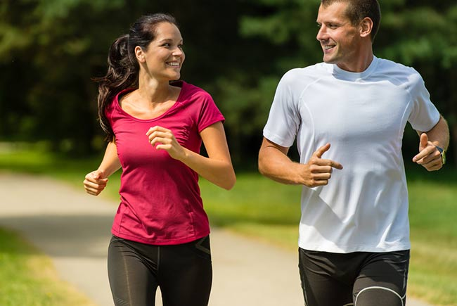 man and woman running