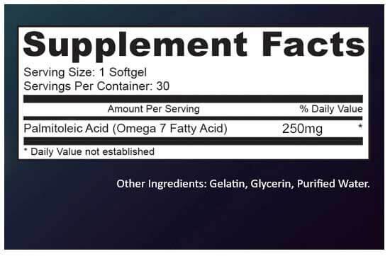 Ultra Omega Burn Ingredient Profile label
