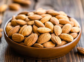 Almonds are another good high fiber low carb food